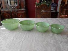 Vintage 4 piece Fire King Jadeite Swirl Pattern Mixing Bowl Set - Nesting Bowls