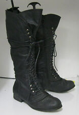 Women knee Lace Rugged Military Combat Motorcycle Riding Winter boot size  6
