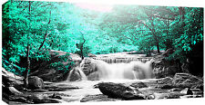 LARGE WATERFALL MINT GREEN TREES BOX CANVAS WALL ART PICTURE  103x52cm 3cm frame