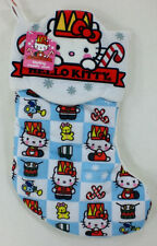 """Hello Kitty Cloth Patchwork Holiday 16"""" Christmas Stocking NEW"""