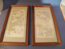 Rare Vintage Framed under Glass Chinese Hand Cut Paper Art Pictures of Cranes