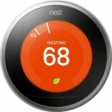 Nest Learning Programmable Thermostat T3007ES Stainless Steel Third Gen --