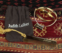 """Italy JUDITH LEIBER  Golden   Large Mirror Comb Set in Original Pouch,  2.5"""" Dia"""