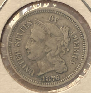 1876 3 Cent Nickel F/VF?No Reserve + Free Shipping!(txpx)