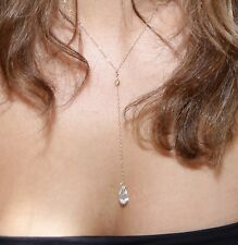 Gold Filled Necklace Long Chain Necklace with SWAROVSKI CRYSTAL teardrop