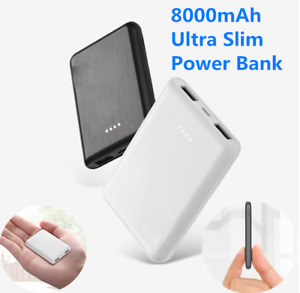 8000mAh 2 USB Portable Power Bank External Battery Charger For Phones Ultra-thin