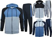 Mens Slim Fit Tracksuit Set Zip Up Hoodie Tapered Joggers Casual Fleece S - 2XL