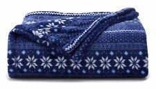 New The Big One Navy Blue Fair Isle Snowflake Soft Plush Throw Blanket 5' x 6 ft