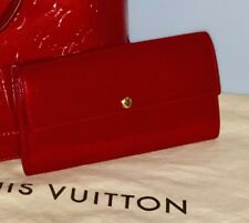 eff16f7eb37 Louis Vuitton RED PATENT Leather Large Wallet Authentic Vintage Made in  France