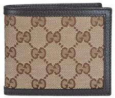 NEW Gucci Men's 260987 Beige Canvas GG Guccissima Bifold Wallet