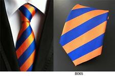 Stripe Tie Blue and Orange Formal 100% Silk Wedding Club Necktie 8cm Width