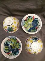 Set of 4 BEAUTIFUL HAND PAINTED FOOTED FINE STUDIO PORECLAIN Rice Soup Bowls 6""