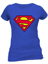 Superman Logo Classic Official DC Comics Supergirl Justice League Womens T-shirt L