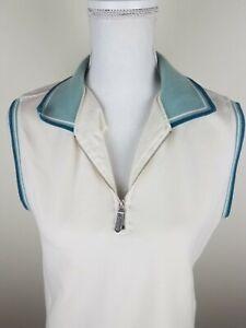 Vintage Callaway Womens L Off White Golf Shirt Top Sleeveless Collared 1/4 Zip