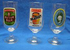 3 Australian Stem Beer Glasses Courage Draught Cascade Special Southwark Bitter