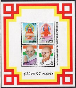 4604 - Bhutan 1997 - Gandhi - India`s Independence - MNH Souvenir Sheet