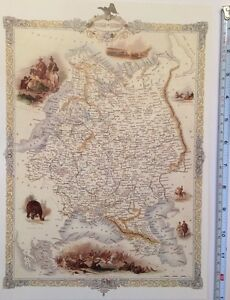 Old Antique vintage colour map 1800s: Russia In Europe: Tallis: Reprint 1851