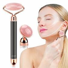 Electric Rose Quartz Jade Roller Vibrating Facial 2 in 1 Beauty Skin Care Tools