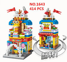Blocksteine Modell bausätze Spielzeug Mini Gebäude Straße Laden Geschäfte 414PCS