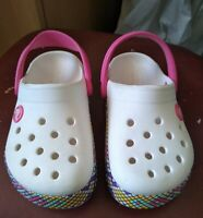 Childrens Crocs Pink Size C9 UK 9 EU 25-26 Acztec Pattern