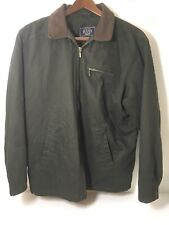 Mens G.H. Bass Green  Jacket Full Zip Leather Collar L Large