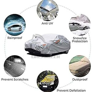 L Universal 6 Layer Heavy Duty Car Cover Waterproof Dust UV Resistant Protection