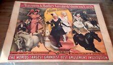 Vintage 1960 Barnum Bailey Circus Poster Horses Meers Sisters Original 14x19 Blk