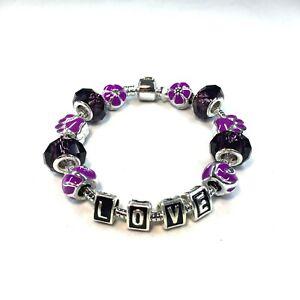 Purple LOVE Charm Bracelet