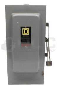 SQUARE D H-322-N Ser. E1 FUSIBLE SAFETY SWITCH, 60AMP 240VAC, TYPE 1, H322N