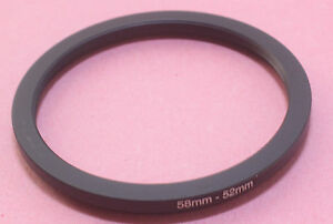 58mm to 52mm Stepping Step Down Filter Ring Adapter 58mm-52mm