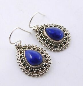 """5.6Gm 925 Solid Sterling Silver Natural Lapis Lazuli Cab Stone Earring 1.2"""" M759"""