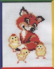 Stickpackung Stickbild sticken 15x18 cm Fuchs mit Küken Fox cub with chicks Kit