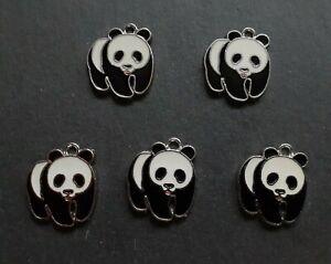 5 x Panda Bear Charms, Jewellery Making, Findings, Accessories, Animal Charms