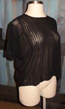 Lost April Black Pleated Semi Sheer Oversized Hi Lo Top Shirt S 4 6 8 Boho