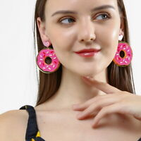 Women Boho Dangle Drop Stud Earring Acrylic Resin Doughnut Earrings Jewelry Gift