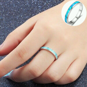 Ring Silver Women  Engagement Jewelry  Wedding Exquisite Fire White/Blue Opal
