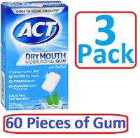 ACT Dry Mouth GUM w/ XYLITOL Sugar-Free, Mint, 20 ct ( 3 Pack ) = 60