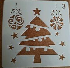 1 X CRAFT STENCIL TEMPLATE ~ REUSABLE ~ CHRISTMAS TREE XMAS BAUBLES ~ NEW