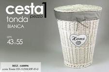 CESTA IN VIMINI TONDA PORTA BIANCHERIA HOME BIANCA H55*L43 CM HEZ-640896