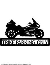 CUSTOM GOLD WING TRIKE PARKING ONLY STEEL SIGN TEXTURED BLACK POWDER COAT
