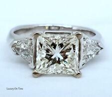 4.14 CT CARAT DIAMOND 3 STONE ENGAGEMENT/WEEDING RING PRINCESS CUT & TRILLIANT.