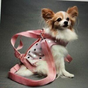 Pink fleece silver discs pet small dog carrier harness sling puppy purse  L XXL