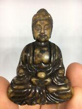 Chinois Jaune Jade/pierre dure sculptée à la Main Bouddha Figure Statue