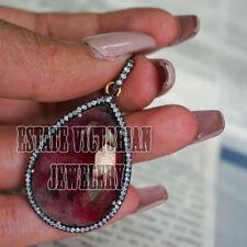Studded Silver Vintage Wedding Pendant Jewelry 2.89Ct Pave Rose Cut Diamond Ruby