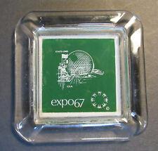 "EXPO '67 Montreal Canada Souvenir glass ashtray, 4"" square USA biosphere"