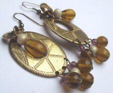 boucles d'oreilles percées bijou vintage pampille anneaux perle de verre 2651