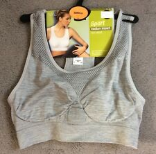 M&S MEDIUM IMPACT SPORT BRA IN LIGHT GREY NON WIRED - SMALL - BNWT