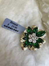 Neoglory Green Stoned Flower Brooch with Swarovski Elements