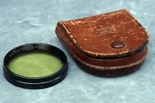 CARL ZEISS JENA 42MM METAL PUSH-ON YELLOW FILTER IN LEATHER CASE - FREE USA SHIP