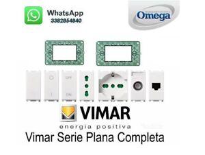 VIMAR PLANA SERIE COMPLETA -INTERRUTTORE-PULSANTE-BIPRESA-SUPPORTO-COPRIFORO